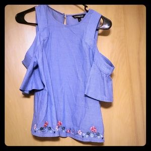 Off the shoulder floral embroidered top